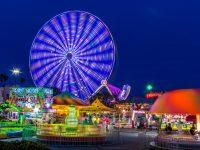 an amusement park at night