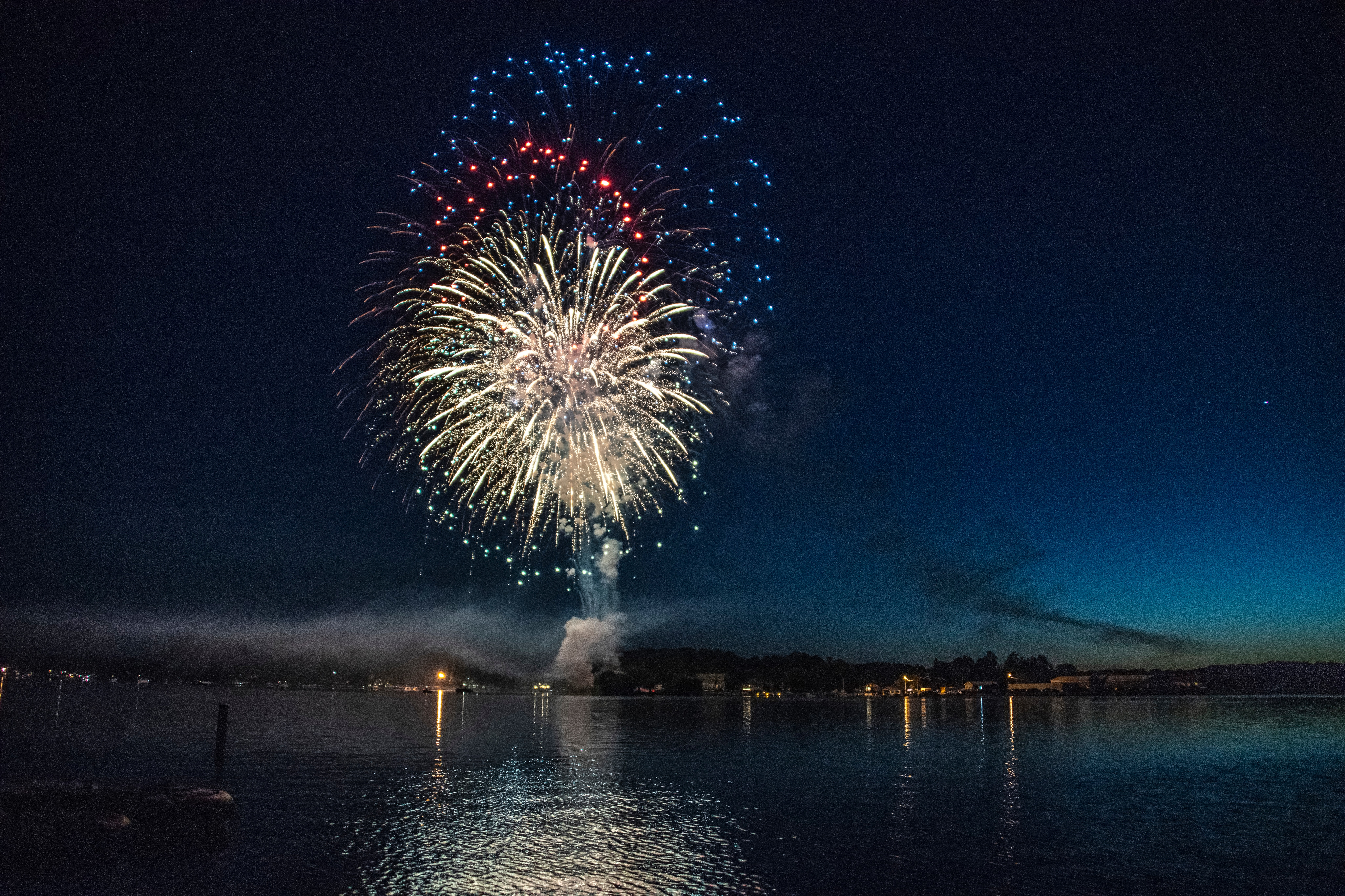 red blue and white firework display