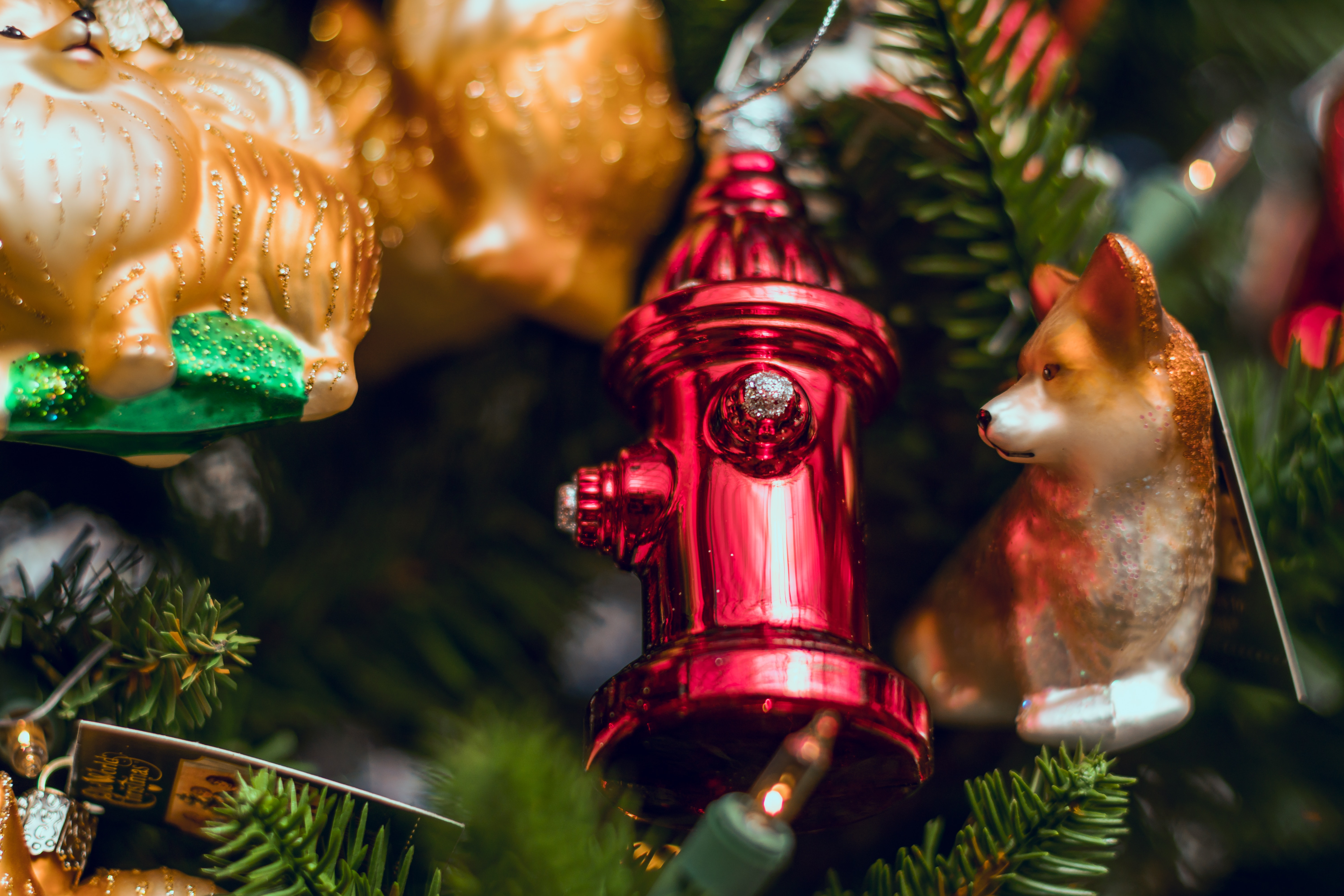 red fire hydrant christmas decor