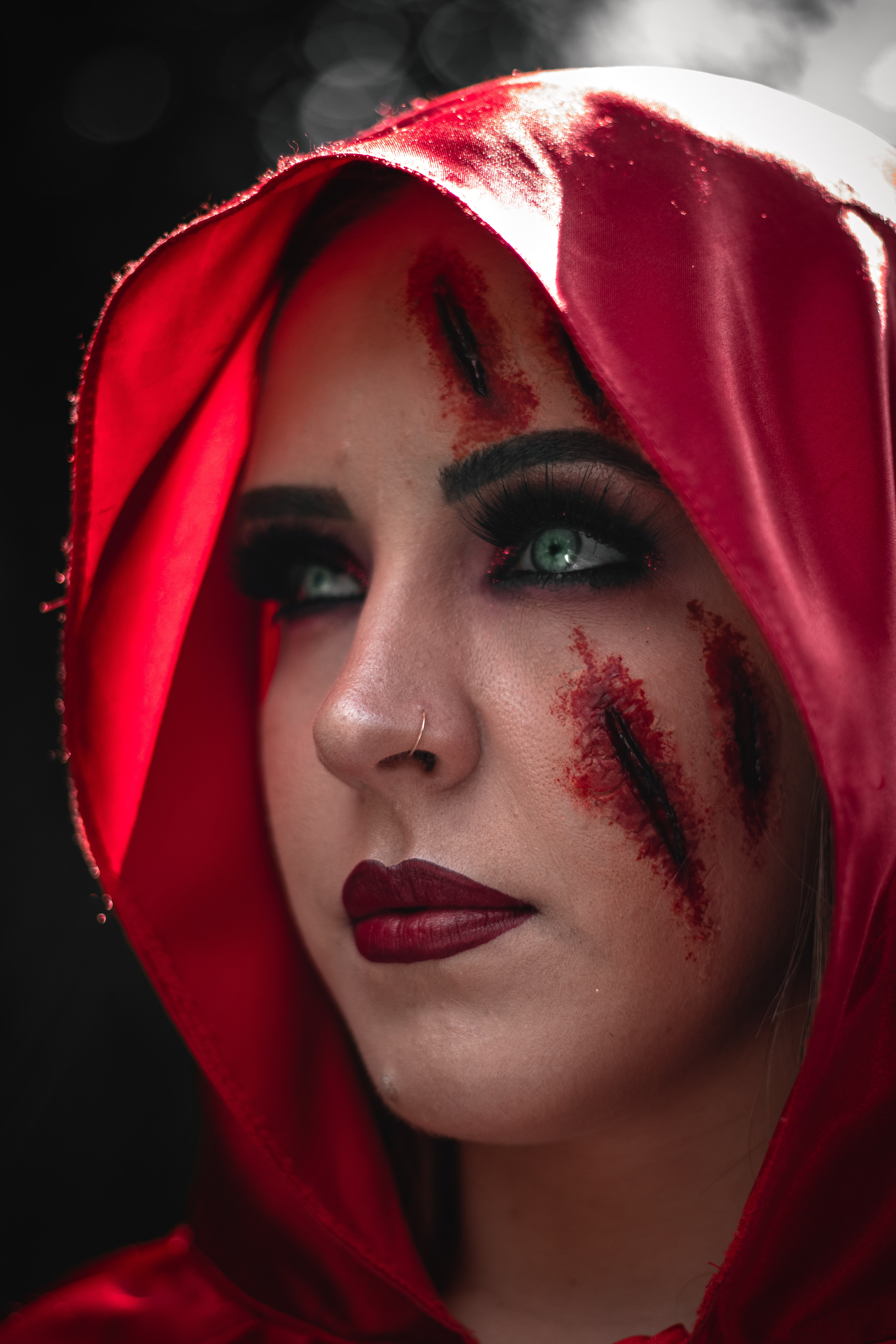 woman in red hood